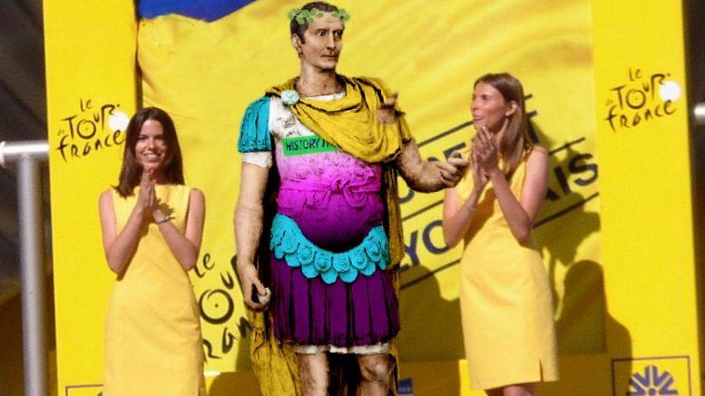 Julius Cæsar i gul toga i tour de france